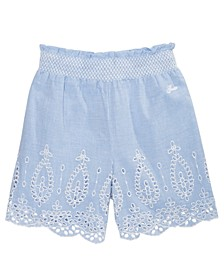 Big Girls Embroidered Eyelet Chambray Cotton Shorts