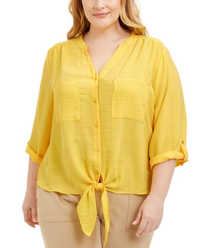 Adrienne Vittadini - Plus Size Tie-Front Blouse