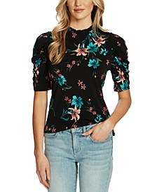 Floral-Print Puff-Sleeve Top