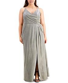 Trendy Plus Size Surplice Metallic Gown