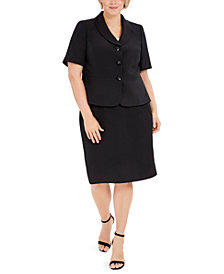 Le Suit Plus Size Three-Button Shawl-Collar Jacket and Skimmer Skirt
