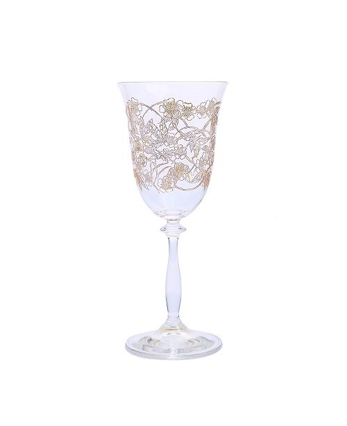 Classic Touch Water Glass with 14K Gold Floral Artwork, Set of 4