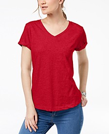 Petite Burnout V-Neck T-Shirt, Created for Macy's