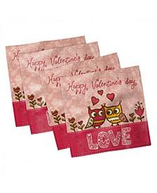 "Valentines Day Set of 4 Napkins, 12"" x 12"""