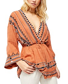 Saffron Embroidered Tunic Top