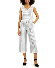 Petite Striped Cotton Jumpsuit, Created for Macy's