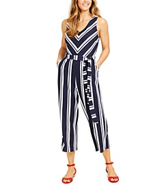 Petite Striped Crepe Jumpsuit, Created for Macy's