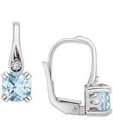 Blue Topaz Leverback Drop Earrings (1-1/6 ct. t.w.) in Sterling Silver