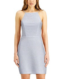 Juniors' High-Neck Triple-Bow-Back Dress