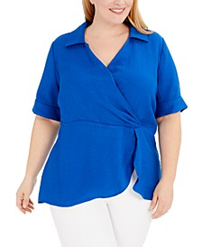 Plus Size Draped Point-Collar Top, Created for Macy's