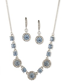 "Round Crystal Drop Earrings & Frontal Necklace, 16"" + 3"" extender"