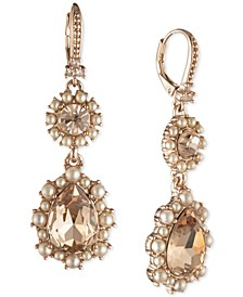 Crystal & Imitation Pearl Cluster Double Drop Earrings