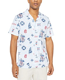Jeans Co. Men's Classic-Fit Stretch Maritime-Print Camp Shirt