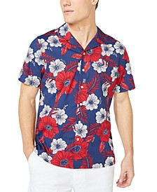 Jeans Co. Men's Classic-Fit Stretch Floral-Print Camp Shirt