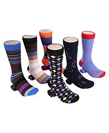 Men's Bold Designer Dress Socks Pack of 6