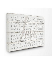 "Love is Patient on Planked Look Canvas Wall Art 30"" L x 1.5"" W x 40"" H"