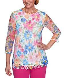 Laguna Beach Floral Mesh Knit Top