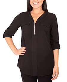 NY Collection Petite Y-Neck Zip-Front Top