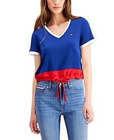 Colorblocked Drawstring-Hem T-Shirt