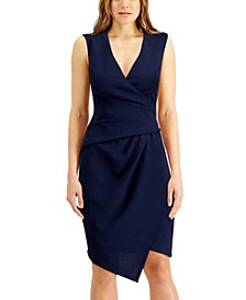 Juniors' V-Neck Asymmetrical Wrap-Style Dress