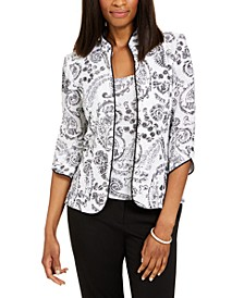 Printed Mandarin-Collar Jacket & Top Set