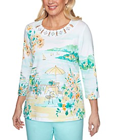 Spring Lake Scenic-Print Embellished Top