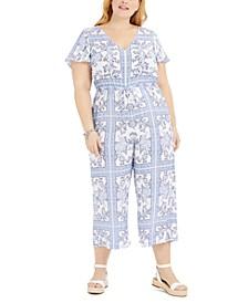 Plus Size Paisley-Print Jumpsuit