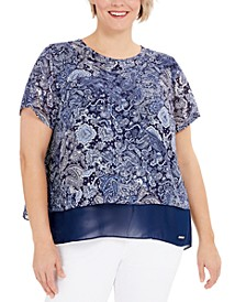 Plus Size Paisley Split-Back Top