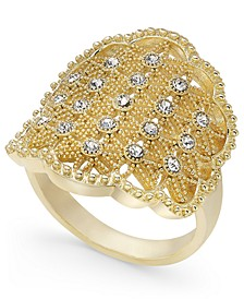 Gold-Tone Crystal Openwork Statement Ring, Created for Macy's