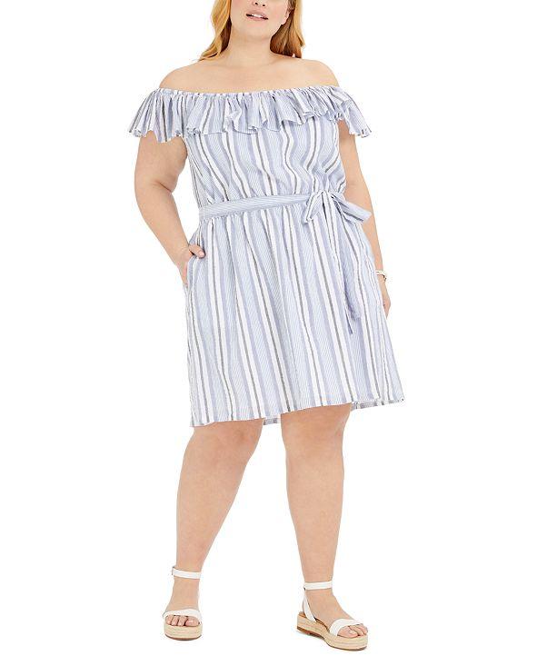 Michael Kors Plus Size Striped Off-The-Shoulder Dress