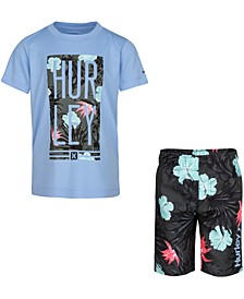 Little Boys 2-Pc. Logo Floral Box Logo T-Shirt & Board Shorts Set