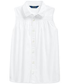폴로 랄프로렌 Polo Ralph Lauren Big Girls Smocked Cotton Broadcloth Shirt,White