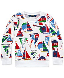 Little Girls Sailboat Cotton French Terry Pullover