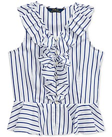 Big Girls Striped Cotton Poplin Peplum Top