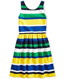 폴로 랄프로렌 Polo Ralph Lauren Big Girls Striped Stretch Jersey Dress,Lemon Rind Multi