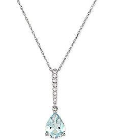 "Aquamarine (7/8 ct. t.w.) & Diamond (1/20 ct. t.w.) 18"" Pendant Necklace in 14k White Gold"