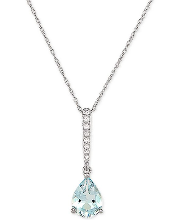 "Macy's Aquamarine (7/8 ct. t.w.) & Diamond (1/20 ct. t.w.) 18"" Pendant Necklace in 14k White Gold"