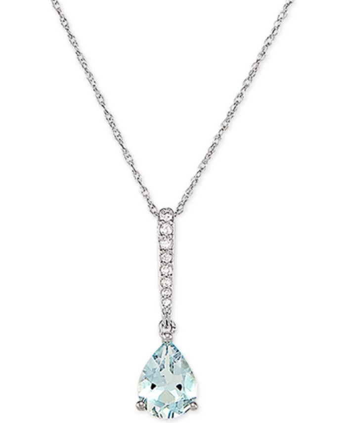 "Macy's - Aquamarine (7/8 ct. t.w.) & Diamond (1/20 ct. t.w.) 18"" Pendant Necklace in 14k White Gold"