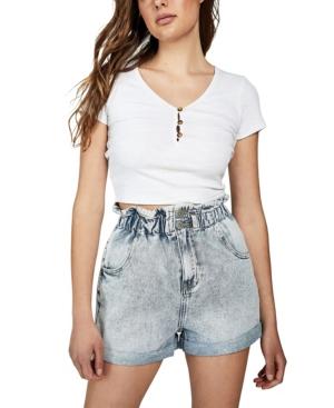 Vintage High Waisted Shorts, Sailor Shorts, Retro Shorts Cotton On Denim Paperbag Short $34.99 AT vintagedancer.com