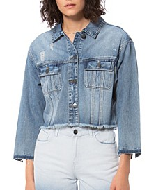 Plus Size Crop Denim Jacket