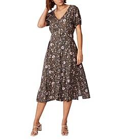 Woven Chloe Puff Sleeve Midi Dress