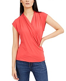 INC Cap-Sleeve Surplice Top, Created for Macy's