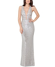 Sequinned V-Neck Gown
