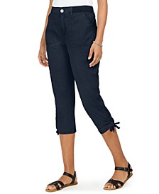 Petite Tie-Hem Utility Capri Pants, Created for Macy's