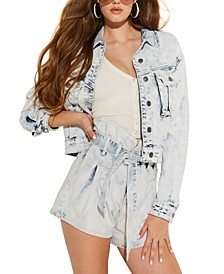 Cinched-Waist Denim Jacket