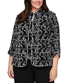 Plus Size Printed Jacket & Top Set