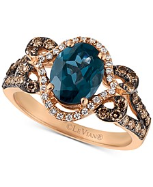 Deep Sea Blue Topaz (1-7/8 ct. t.w.) & Diamond (5/8 ct. t.w.) Ring in 14k Rose Gold
