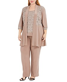 Plus Size Embellished Lace Jacket, Top & Pants