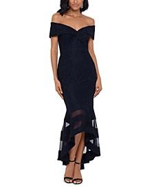 Off-The-Shoulder Illusion-Hem Lace Midi Dress