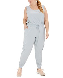 Plus Size Drawstring-Waist Sleeveless Jumpsuit, Created for Macy's